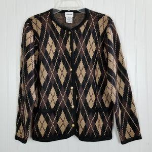 Vintage Cardigan Sweater Button Diamond Pockets M